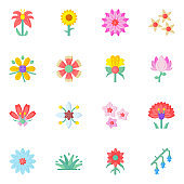 Colorful Set of Floral Flat Icons in Editable Style