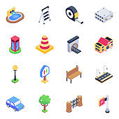 Pack of Accessories and Barriers Isometric Icons