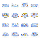 Pack of Online Analysis and Dashboard Flat Illustrations