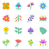 Set of Floral Designs Flat Icons in Editable style