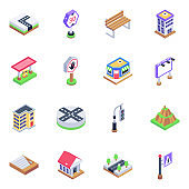 Pack of Architecture and Warning Boards Isometric Icons
