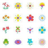 Set of Pixel Perfect Beautiful Flowers Flat Icons