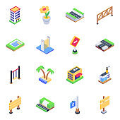 Pack of Roads and Billboards Isometric icons