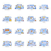 Pack of Seo Services Flat Illustrations