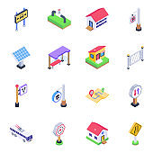 Pack of Home Structure and Banners Isometric Icons