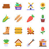 Pack of Agriculture Flat Icons