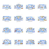 Pack of Data Analysis and Ecommerce Flat Illustrations