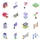Pack of Buildings Isometric Icons