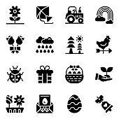 Set of Springtime Glyph Icons