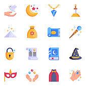 Set of Top 16 Magical Equipment Flat Icons