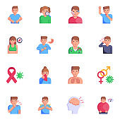 Pack of Skin Infections and Diseases Flat Icons
