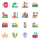 Collection of Agronomy Icons in Flat Designs