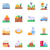 16 Flat Icons of Farmland Elements