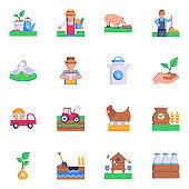 Flat Icons of Farm Graphics