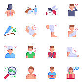 Collection of Injuries and Diseases Flat Icons