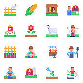 16 Agriculture Designs Flat Icon Set