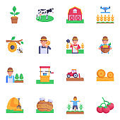 16 Farming and Agriculture Flat Icon Designs