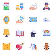 Set of Magical Flat Icons