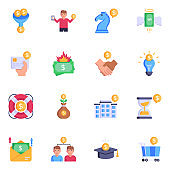 Pixel Perfect Investment and Economy Flat Icons