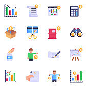 Modern Set of Investment Flat Icons