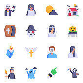 Set of Dreadful Horror Characters Flat Icons