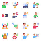 Set of Investment and Funding Flat Icons