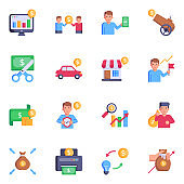 Set of Investment and Finance Flat Icons