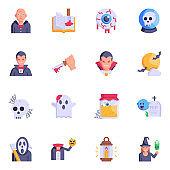 Set of Dreadful Demon Flat Icons