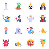 16 Trendy Sorcery Characters Flat Icons