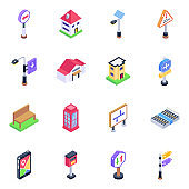 Pack of Road lights Isometric Icons