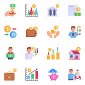 Business and Investment Colorful Flat Icons
