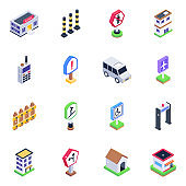 Pack of Road Barriers and Sign Boards Isometric Icons