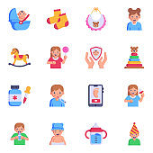 16 Kids Accessories Flat Icons