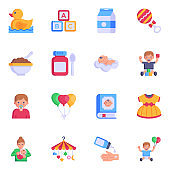 Set of Baby Equipment - Pixel Perfect Flat Icons