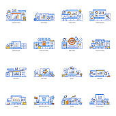 Pack of Data Statistics Flat Illustrations