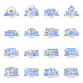 Pack of Data Storage and Reporting Flat Illustration
