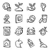 Set of Earth Day Doodle Icons
