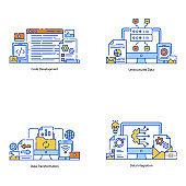 Pack of Data Transformation Flat Illustration