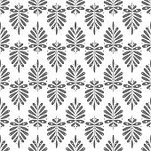 Seamless background with geometric leaf. Victorian style. The background is white, the sheet is black. Endless abstract texture.