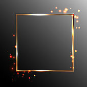 Gold square frame and flares of fire, great design for any purpose. Curb design. Vector image.
