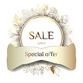 Gold frame. Offer sale banner vectors. 3d paper cut summer season. Leaves and flowers from golden threads. Female sale tag. Shop market poster design.Vector illustration. Place for an inscription.