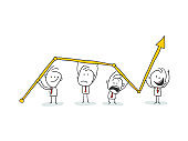 Business Characters Team Working around Huge Growing Arrow.
