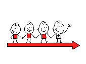 Illustration of team of businessman on arrow. Team leader has leading his team to success.