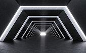 Illuminated corridor interior