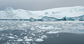 Arctic icebergs in Greenland, drone view.