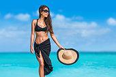 Elegant black bikini woman with hat sunglasses
