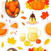 Seamless pattern with pumpkin and autumn leaves and traditional food for Thanksgiving day. cartoon style