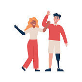 happy disabled couple people wave hands