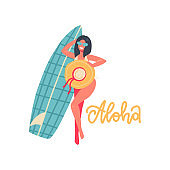 Beautiful girl making photo with hat and surf board. Summer vacation banner concept with lettering text - Aloha. Woman in swimsuit. Vector flat hand drawn Illustration