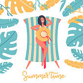 Summer Time banner design with woman sitting in the stripped sun lounger under palm tree leaves. Vector flat Illustration for Beach Holidays, Summer vacation, Leisure, Recreation, Nature.